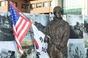 """미2사단 기념동상 작가 """"박근혜 전 대통령 미의회 연설에서 영감"""" 기자들 당혹"""