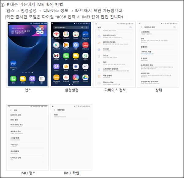 검찰이 제출한 태블릿이 김한수가 개통한 바로 그 태블릿인지 확인하려면, IMEI를 확인해야 한다. 사진=삼성전자 홈페이지 설명 캡쳐.
