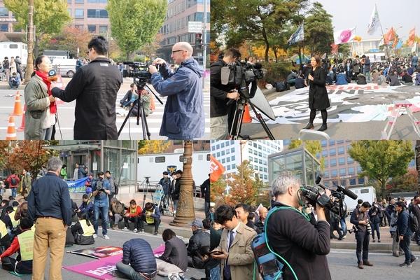▲ 다양한 외신들이 좌파 단체의 반미집회를 카메라에 담고 있다.