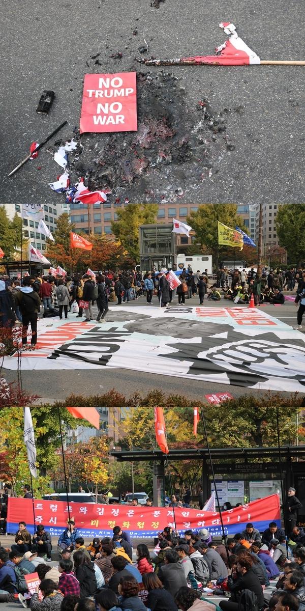 ▲ 8일 여의도 국회의사당 앞에서 열린 반미 집회의 현장 모습.
