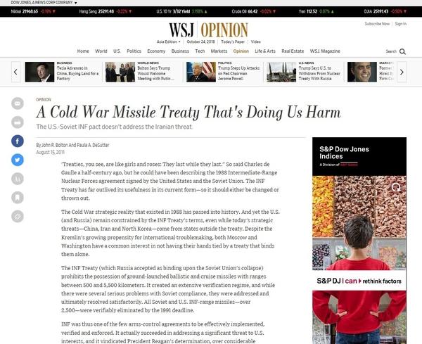 월스트리트저널(Wall Street Journal) 2011년 8월 15일자 칼럼 '냉절 시절 체결한 조약이 지금 미국에게는 독약으로 돌아왔다(A Cold War Missile Treaty That's Doing Us Harm)'