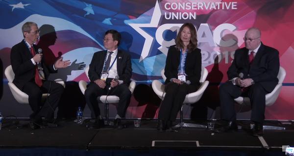CPAC에서는  위기에 처한 한국의 자유민주주의에 관한 특별 포럼이 열렸다. 이 포럼에서는 미디어워치 변희재 대표고문과 황의원 대표이사를 구속한 문재인 정권은 자유민주주의의 근간인 언론의 자유가 억압하고 있다는 강한 지적이 나왔다. 사진=ACU 유튜브 캡처.