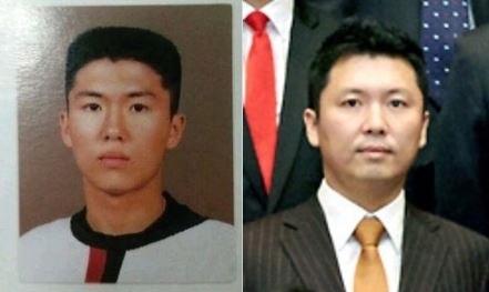 김한수 전 청와대 행정관. 사진 왼쪽은 고교시절, 오른쪽은 청와대 근무할 당시의 모습.