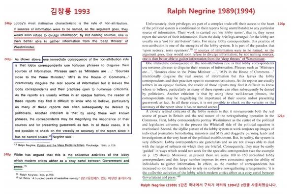 김창룡 위원의 박사논문에서 랄프 네그린(Ralph Negrine)의 '영국의 정치와 대중언론(Politics and the Mass Media in Britain)'(1989)이 베껴진 부분.