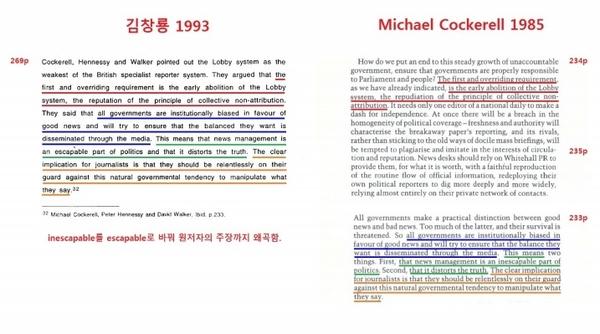 김창룡 위원의 박사논문에서 마이클 코트렐(Michael Cockerell) 외 2인의 '수상 측근 소식통(Soruces close to the Prime Minister)'(1985)이 베껴진 부분.