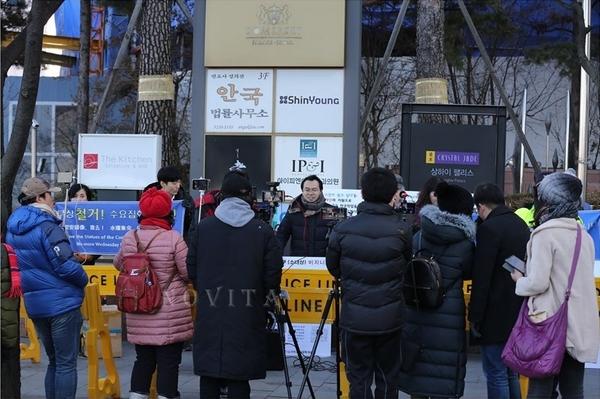 15일 낮 12시,  서울 종로구 구 주한일본대사관 근처에서 반일동상진실규명공동대책위원회 제6차 집회가 열렸다. (사진출처=유튜버 '노비타)