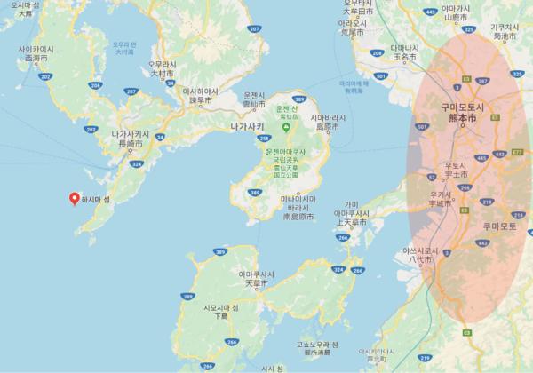 하시마섬에서는 나가사키 반도에 가려서 구마모토를 볼 수가 없다. 사진은 구글맵.