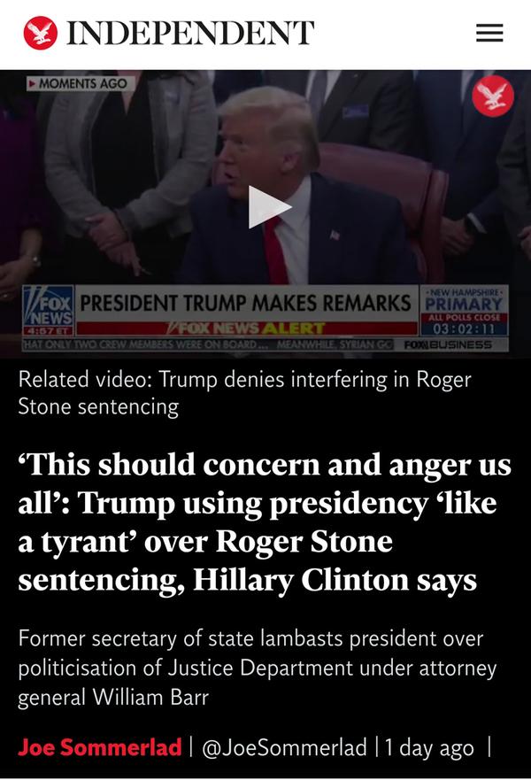 힐러리의 13일자 트윗을 기사 제목으로 쓴 인디펜던트 기사 캡처