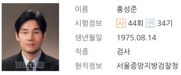 홍성준 검사 프로필