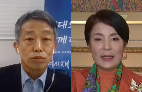 유튜버 김용호의 작은아버지 김원수 씨(왼쪽)와 작은어머니 박은하 씨의 모습. 출처=여시재 유튜브, 스카이뉴스 캡처.
