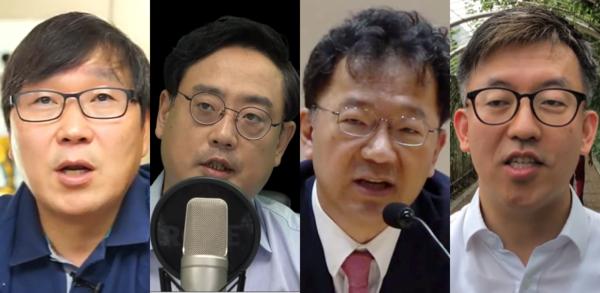 기자회견 참석자. 왼쪽부터 김인성 전 한양대 교수, 변희재 본지 대표고문, 차기환 변호사, 이동환 변호사.