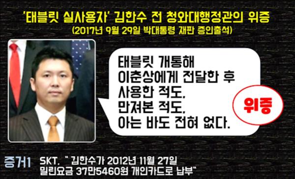 핵심 증인 김한수는 태블릿 조작의 실체적 진실을 알고 있을 가능성이 높다.